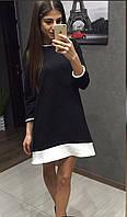 Молодежное трикотажное черное платье с белыми вставками  . Арт-2419/66