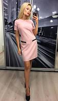Женское нежное платье со вставками с кожи до середины бедра