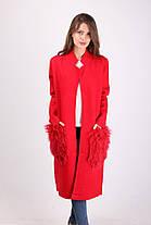 Длинное женское пальто из кашемира с меховыми карманами 8805