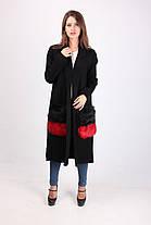 Женское кашемировое пальто с накладными меховыми карманами 8802