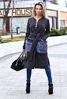 Женское кашемировое пальто с меховыми искусственными карманами серое, фото 1