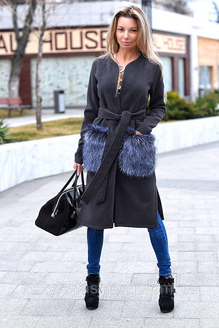 Женское кашемировое пальто с меховыми искусственными карманами серое