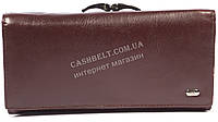 Оригинальный матовый женский кожаный кошелек высокого качества PTK art.3-416 коричневый