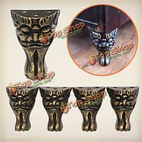 4шт ретро лице латунь ювелирных грудь деревянная коробка декоративные с ноги на ногу металлический уголок протектор