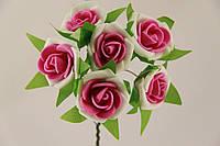 Роза с цветной серединкой искусственная малиновая (букет) 5634-1-14