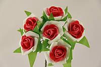Роза с цветной серединкой искусственная красная (букет) 5634-1-14