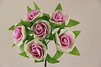 Роза с цветной серединкой искусственная розовая (букет) 5634-1-14