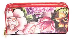 Оригинальный лаковый женский кожаный кошелек барсетка высокого качества HELEN VERDE art.2547-F03 цветы