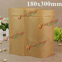 Крафт- бумажные мешки алюминиевой фольги упаковки встать с застежкой-молнией для хранения продуктов 180x300mm