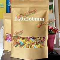 Крафт- бумажные мешки упаковка встать с застежкой-молнией для хранения продуктов питания 180 х 260 мм