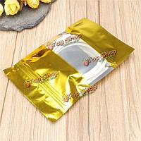 100шт золото алюминиевой фольги постоять мешков почтовый замок майларовые мешочки с класса Windows еды