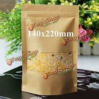 Крафт- бумажные мешки упаковка встать с застежкой-молнией для хранения продуктов питания 140 х 220 мм