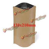 Крафт-бумажные мешки алюминиевой фольги упаковки встать с застежкой-молнией для хранения продуктов 130x210mm