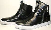Кеды мужские Millioner В3 У-7, черные, кожаные, белая подошва, замочек, осень/весна.