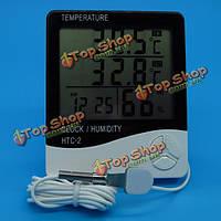 Цифровой ЖК-электронный термометр влажности измеритель температуры часы гигрометр