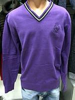 Свитер темно-фиолетовый с V-образным вырезом