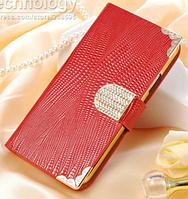 Роскошный чехол-книжка для Samsung Galaxy S6 G9200 красный