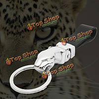 Реальная кожа металл леопарда головы брелок личность брелки ключевой фигурой автомобиль брелок брелок держатель