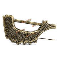 Китайский античный старый стиль ретро латунь замок замок коробка ювелирных изделий шаблон рыбы с ключом