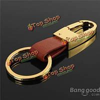 Мужская Vintage бронзовый кожаный ремешок автомобильный держатель для ключей металлический брелок