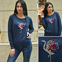 Женский  свитер с фламинго