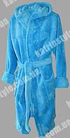Женский однотонный махровый халат средней длины