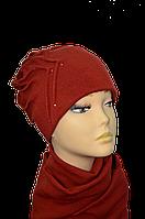Женский набор (шапка и шарф )  из ангоры Роза размеров 56-58 бордовая