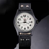 Мужские военные часы белые с черным