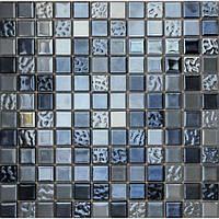 Черная мозаика для кухни металл зеркало Vivacer DI005
