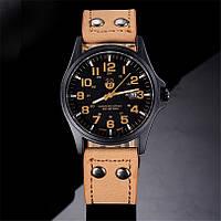 Мужские военные часы черные с коричневым