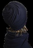 Шапка женская из ангоры стильная Коловорот размер 56-58  темно синий