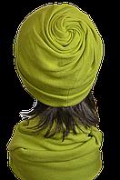 Шапка женская из ангоры стильная Коловорот размер 56-58  зеленая