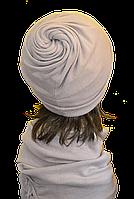 Шапка женская из ангоры стильная Коловорот размер 56-58  светло серая