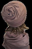 Шапка женская из ангоры стильная Коловорот размер 56-58  лиловая