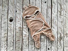 Универсальный спальник - человечек 0-6 мес кокон, коричневый