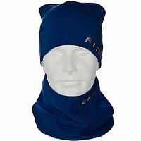 Синий комплект шапка +шарф труба