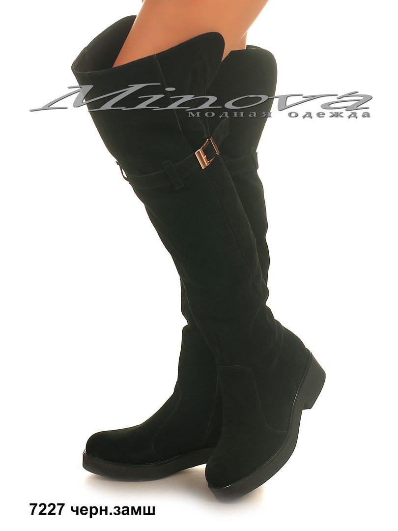 05a3b51b2e6f Женские зимние черные замшевые ботфорты на цигейке на каблуке 4,5 см  (размеры 36-41)