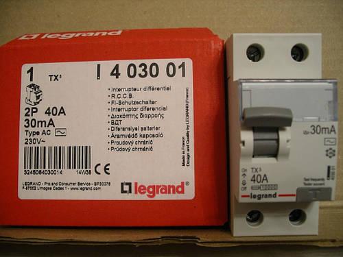 Legrand Выключатель дифференциального тока ВДТ TX AC40А,2Полюса,30 мА