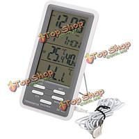 DC-802 ЖК-цифровой термометр гигрометр метр часы температура влажность в помещении на открытом воздухе с проводным внешним датчиком