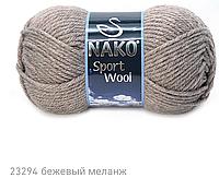 Пряжа Полушерстяная Nako Sport Wool 23294 для Ручного Вязания