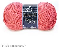 Пряжа Полушерстяная Nako Sport Wool 11224 для Ручного Вязания