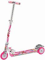 Самокат со светящимися колесами розовый