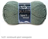 Пряжа Полушерстяная Nako Sport Wool 1631 для Ручного Вязания