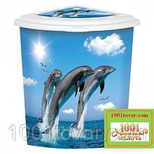 """Бак угловой для белья Еlif, с рисунком """"Дельфины"""""""