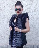 Жилет стёганый с мехом чернобурки 75 см, фото 1