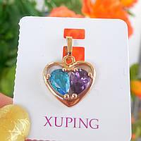Кулон сердечко xuping золото 18к голубой и фиолетовый цирконий