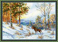 """Набор для вышивания крестом «""""Лось в зимнем лесу"""" по мотивам картины В.Л.Муравьева» (1528)"""