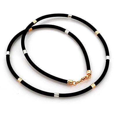 Каучуковые браслеты и шнурки с серебром и позолотой