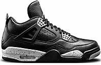 Мужские баскетбольные кроссовки Nike Air Jordan IV Retro Black Leather   (найк аир джордан) черные
