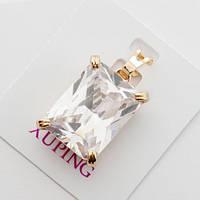 Кулон подвеска xuping золото 18к прозрачный прямоугольный цирконий
